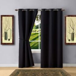 Warm Home Designs 1 Pair 2 Panels Of Black Color Blackout Curtains With Gromme
