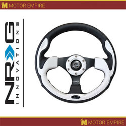 Nrg Reinforced Steering Wheel 320mm Black Leather With White Trim 6 Holes