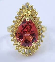 4.50 Ct Diamond And Peachy Pink Tourmaline Halo Ring Solid 14k Yellow Gold Video