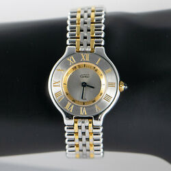Ladies - Must De 21 Two Tone 1340 18k Gold Plated/stainless Steel. 58mm