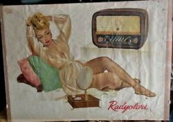 Unique Vintage Litho Radio Minerva Store Advertising Paper Wall Poster 50s