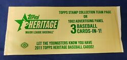 2011 Topps Heritage 1962 Advertising Panel Or Topps Stamp Collection Sealed Pack