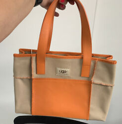UGG Australia Small Tote Bag Canvas Leather Beige Orange 9.5x13quot; NWT Summer $65.00