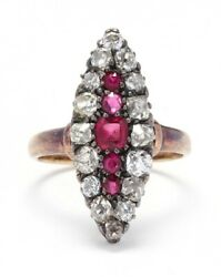Victorian 14 Karat Gold Synthetic Ruby And Diamond Navette Ring