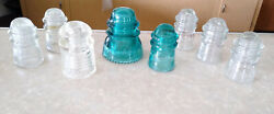 Lot Of 9 Vintage Glass Telephone Insulators Hemingray Clear And Aqua 9 And 42, Pyrex