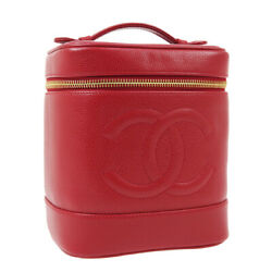 Cc Cosmetic Vanity Hand Bag 3812829 Purse Red Caviar Skin Leather 02377