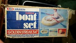 Ideal Inflatable 3-pcs Boat Set Golden Street 54 Never Used Includes Box And Oars