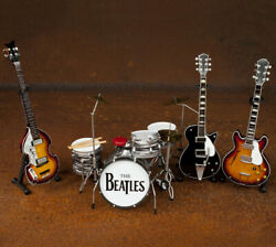 Beatles SET OF 4 Collectible Fab Four Mini Guitar and Drum Replicas 1:4 scale