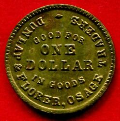 Oklahoma Territory - C1870-80 Dunlap And Florer Osage Traders 1 Token