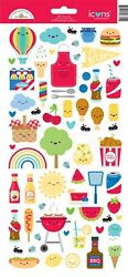 Crafts Doodlebug Icon Stickers Bar-b-cute Bbq Food Summer Picnic Ants Chicken