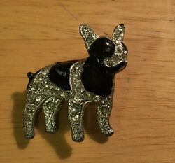 Vtg Enamel Rhinestone French Bulldog Pin
