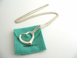 And Co Open Heart Mesh Necklace Pendant 29 Inch Chain Gift Pouch Love