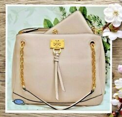 NWT TORY BURCH EVE Chain Shoulder TOTE amp; WALLET In SHELL PINK Leather GOLD Tone $378.95