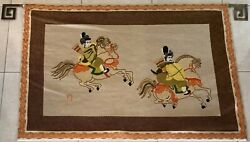 Huge Needlepoint Tapestry Wall Hanging Samurai Retro 1970s Bargello Orientalist