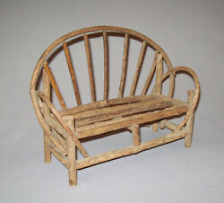 Old Antique Vtg 1940s Doll Or Miniature Folk Art Twig Settee Bench 7 Tall Nice