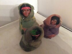 Vintage 3 Skookum Dolls Wrapped In Native American Blankets-family Of 3