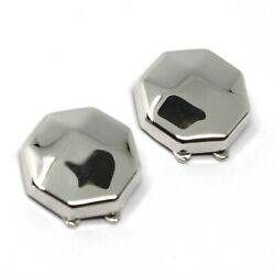 18k White Gold Button Covers, Faceted Octagon, Made In Italy