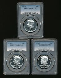 Lot Of 3 All Certified Pcgs 1970-s Proof Half Dollars      X