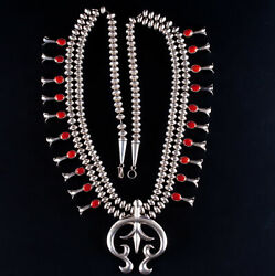 Vintage 1960and039s Sterling Silver Navajo Native American Coral Squash Blossom