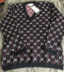 New With Tags 100 Authentic Monogram 100 Wool Sweater V Neck Rare Xxl