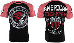 American Fighter Mens S S T Shirt ALLEN Athletic BLACK RED Biker Gym M 3XL $40