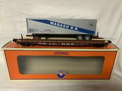 ✅lionel Wabash Ps-4 Flat Car W/ 40' Trailer Real Wood Deck 6-84879 O Scale Pup