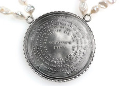 72 Names And Archangels 35gr 925 Silver Amulet - 45cm Double Chain Raw Pearls