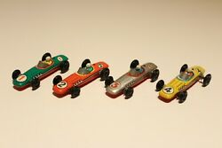 Vintage Set Of Four Small Ussr Russia Litho Tin Toy Formula Racing Car