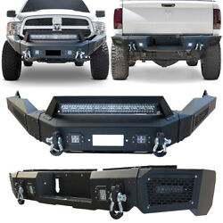Vijay Front And Rear Bumper W/winch Plate And D-ring Fits 13-18 Dodge Ram 1500