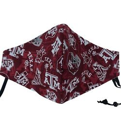 Texas A&M University Aggies Face Mask —Adjustable Straps 100% Cotton USA MADE $13.59