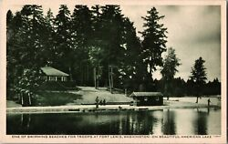 Swimming Beach for Troops Fort Lewis WA Vintage Postcard F28 $7.29