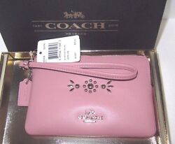 Coach 56530B Smooth Pink Leather Western Silver Rivet Wristlet Gift Box NWT  $38.99