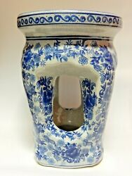 Vintage Blue And White Porcelain Nantucket Column Design Chinese Stand And Stool