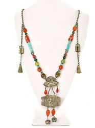 1930and039s Chinese Solid Silver Drum Pendant Agate Turquoise Coral Bead Necklace