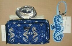 Vera Bradley Free Id Case Seahorse Of Course Deluxe Crossbody And Luggage Tag