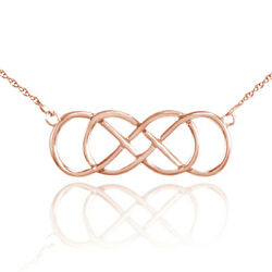 Double Knot Infinity Love Pendant With Chain 14k Rose Gold
