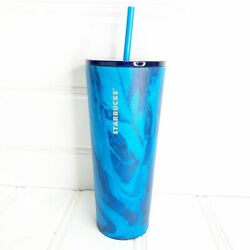 Starbucks Matte Blue Marble Stainless Steel Tumbler 24 Fl Oz Cold Cup Venti 2018