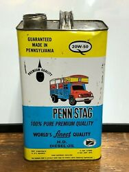 Vintage Penn Stag Engine Motor Oil 5 Quart Oil Metal Can Gas Truck Tractor Old