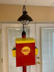 One Of A Kind Hand Made Shell Gas Station Paper Towel Dispenser/light/neon Clock