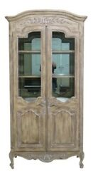 45136ec French Carved 2 Door Distressed Finish Curio China Cabinet
