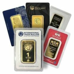 1 Oz .9999 Fine Gold Bar - Brand Name With Assay Card - Our Choice Of Mix Mints