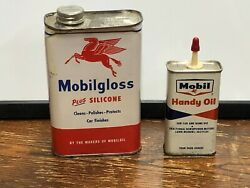 Vintage 2 Metal Can Lot Mobilgloss And Mobil Handy Oil Pegasus Gas Station Old
