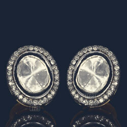Estate 1.85cts Genuine Old Rose Antique Cut Diamond Silver Studs Earring Jewelry