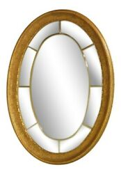 2029 Friedman Brothers 7080 Gold Framed Regency Style Oval Etched Mirror New