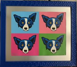 Blue Dog Heads Or Tails Original Silkscreen Paint Pen Signed by George Rodrigue