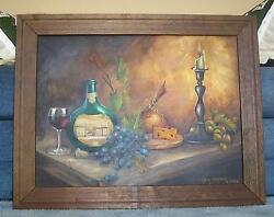 VINTAGE STILL LIFE MATEUS WINE ORANGE CANDLE GRAPES VINEYARD OIL OOAK PAINTING