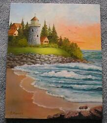 VINTAGE LIGHT HOUSE OCEAN SHORE ORANGE SUNSET DUSK ROCK GARDEN ART OIL PAINTING