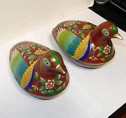 Pair Of Chinese Cloisonne Enamel Bird Shape Jar Boxes With Original Display Box