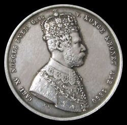 1860 Silver Norway King Carl Xv Adolph Largesse Coronation