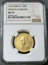 1974 Gold Turks Islands Ngc Mint State 70 Winston Churchill 50 Crowns Coin